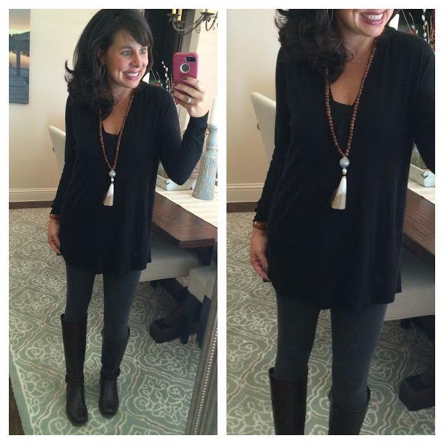 Let's Talk TUNICS!  A black tunic tee, leggings, and a fun tassel necklace!