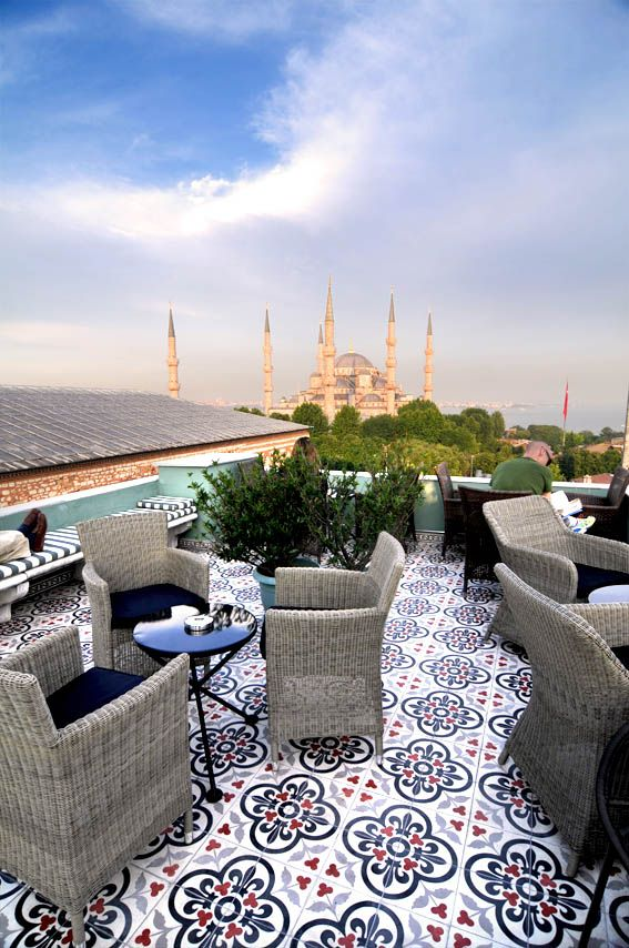 Rooftop at Hotel Ibrahim Pasha in Istanbul, Turkey.
