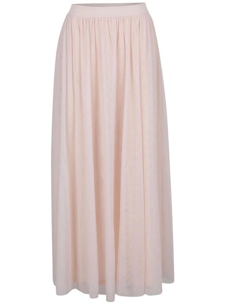 Svetloružová tylová maxi sukňa VILA Rokas