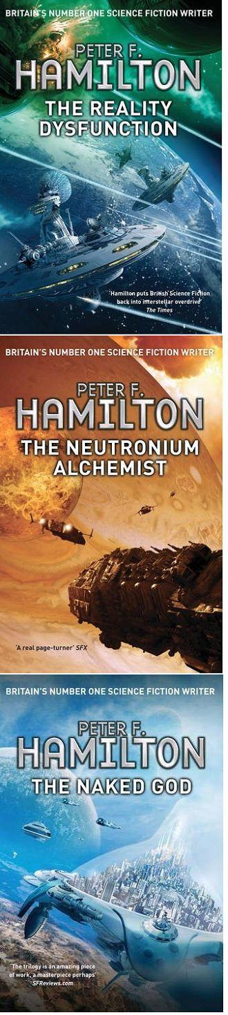 Night Dawn Trilogy by Peter F. Hamilton. The Reality Dysfunction, The Neutronium Alchemist, The Naked God.