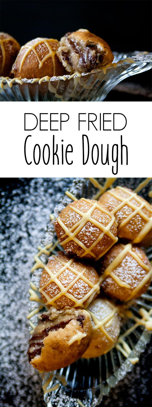 Kosher recipes | Chanukah recipes | Hanukkah recipes | As if the holidays weren't hard enough, these deep fried chocolate chip cookie dough balls with bourbon cream sauce are sinfully delicious. Perfect for any chanukah celebration or add it to your Christmas cookie tradition.