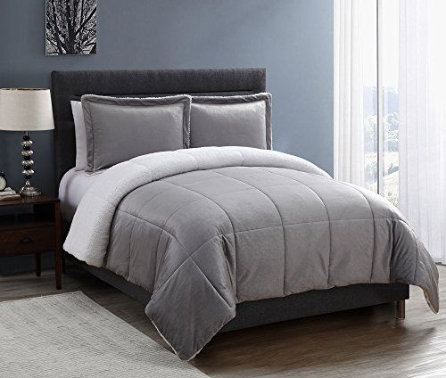 wide varieties delicate colors detailed images VCNY 3 Piece Micro Mink Sherpa Comforter Set Queen Gray ...