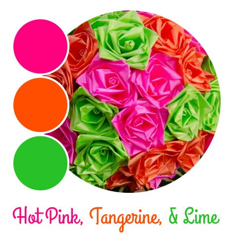Pink, orange, and green wedding colors by www.bridesbouquetsandbeyond.com