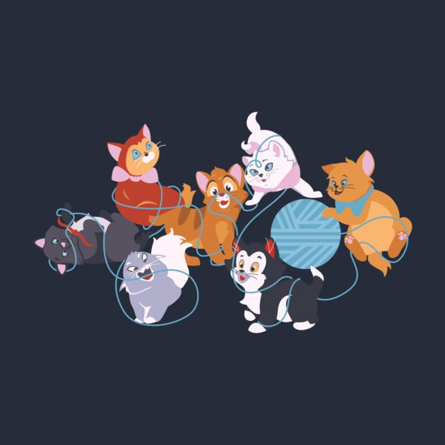 The Disney kittens all together! Left to right: Berlioz (Aristocats) Ezma (Emperor's New Groove) Dinah (Alice in Wonderland) Oliver (Oliver & Company) Figaro (Pinocchio) Marie (Aristocats) Toulouse (Aristocats) - TeePublic