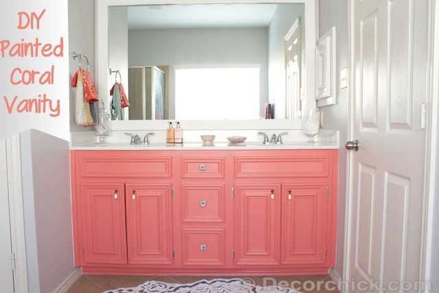 Easy DIY Painted Bathroom Vanity from @Decorchick - used sherwin williams all surface enamel - latex base - remember this for redoing the bathroom vanity.