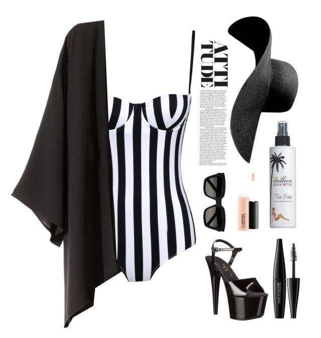 """""""swimsuit"""" by sexiroseberry ❤ liked on Polyvore featuring Dolce&Gabbana, Million Dollar Tan, MAKE UP FOR EVER, Ellie Shoes, Yves Saint Laurent, MAC Cosmetics and H&M"""