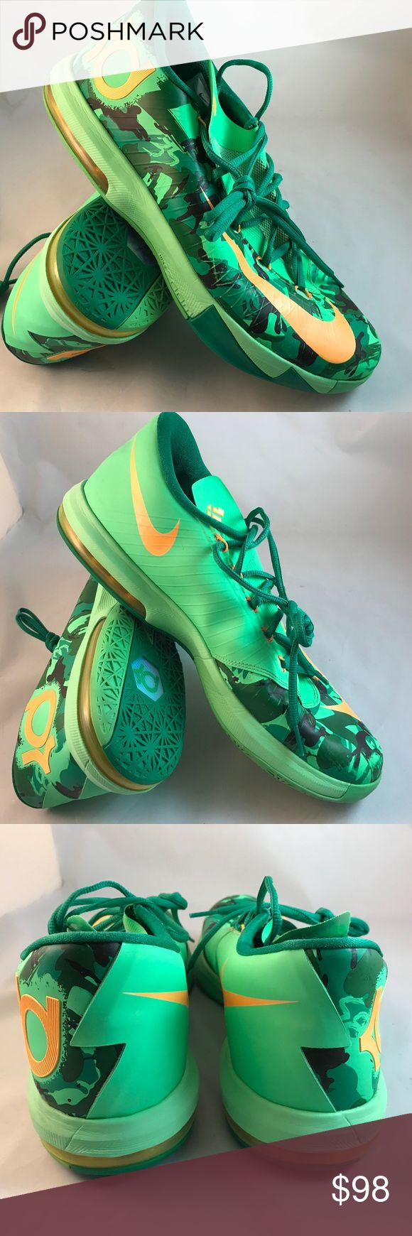 NIKE KD 6 Kevin Durant Easter Green Marigold sz 13 NIKE KD 6 Kevin Durant Easter Green Marigold sz 13, 47.5 EUR in excellent condition. The only visible issue is some minor rubbing one of the swooshes. The air bladders are filled and tight and comes with original insoles NIKE Shoes Athletic Shoes