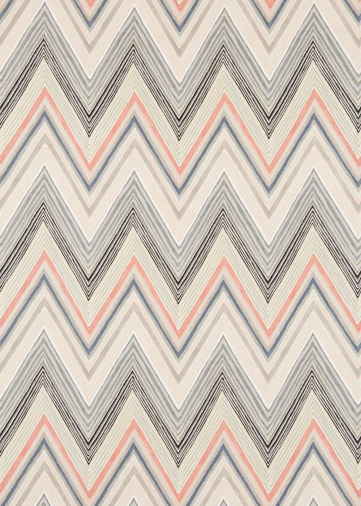 Groove Pebble/Pewter/Shrimp (120287) - Scion Fabrics - A fun and vibrant all over zig zag fabric design, which creates a horizontal stripe effect. Shown here in pebble, pewter and shrimp. Other colourways are available. Please request a sample for a true colour and texture match.