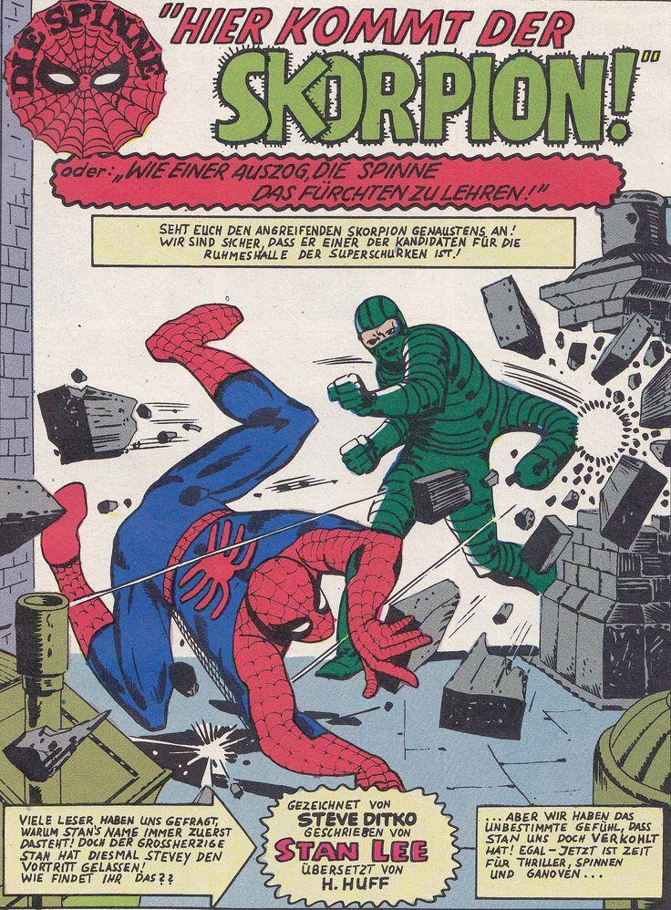 https://flic.kr/p/WnAhR1 | Die Spinne 22 / splash panel | Die Spinne / Heft-Reihe Originalausgabe: The Amazing Spider-Man 20  (The coming of the Scorpion! or »Spidey Battles Scorpey!«) art: Steve Ditko Klaus Recht GmbH (Hamburg / Deutschland; 1974) ex libris MTP en.wikipedia.org/wiki/Mac_Gargan