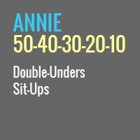 annie wod. Gotta do this again since I can do double unders now