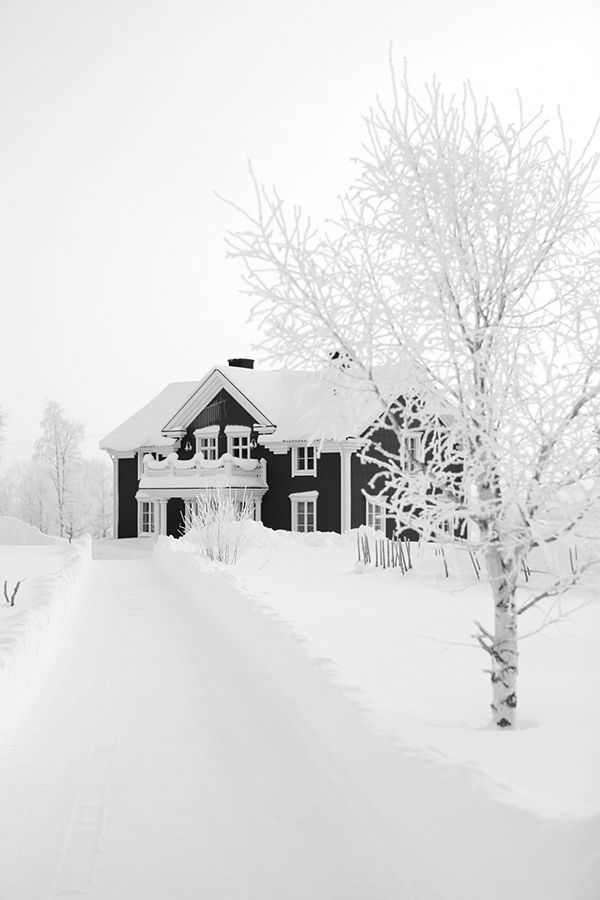 Stunning black and white traditional style house in Scandinavia #white #winter #snow