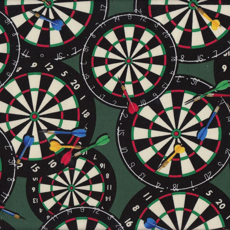 Dartboards on Green Darts Mens Sport Quilt Fabric - Find a Fabric. Available to purchase in Fat Quarters, Half Metre, 3/4 Metre, 1 Metre and so on.