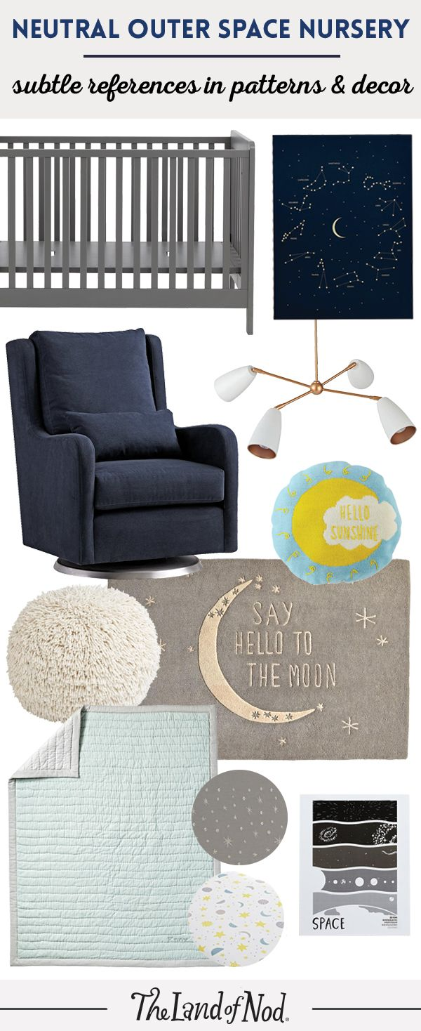 It's easy to create an outer space-themed nursery with The Land of Nod's bedding, decor and furniture. Start with space-themed bedding then add details like planets, stars and moons. Plus, discover more baby nursery inspiration and ideas on our blog.