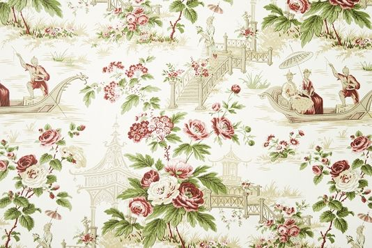 Pavilions and Parasols Toile Wallpaper Ornate toile wallpaper with floral motif in Green and Red and oriental scenes in Taupe on an off white paper.