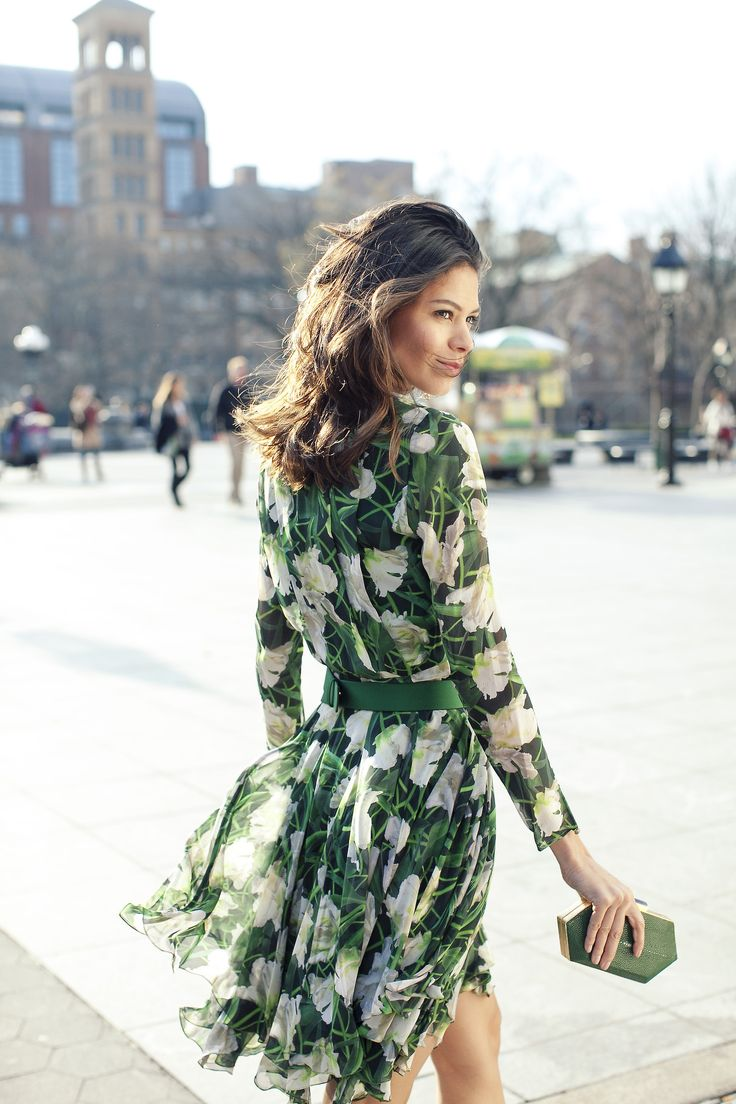 Green Valentino Floral Dress | Street Style