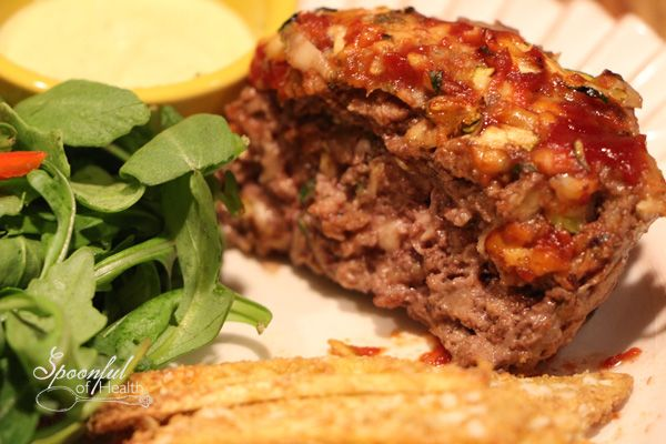 Grain and egg free Meatloaf that is tender and moist by using shredded zucchini!