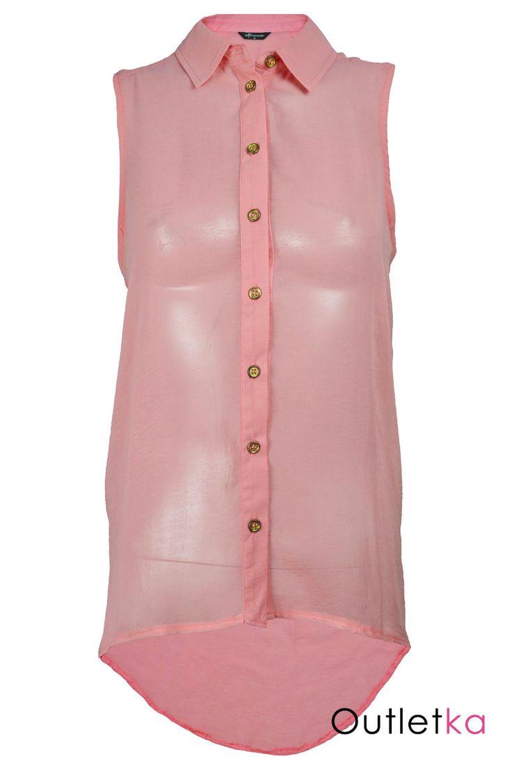 Nowa elegancka koszula w odcieniu różowym. Koszula zapinana na guziki w kolorze złotym. Bluzka posiada modny, luźny krój. Materiał typu mgiełka, zwiewny, dopasowujący się do sylwetki. Z przodu jest krótsza, z tyłu dłuższa - asymetryczna. Hit w Wielkiej Brytanii!!!