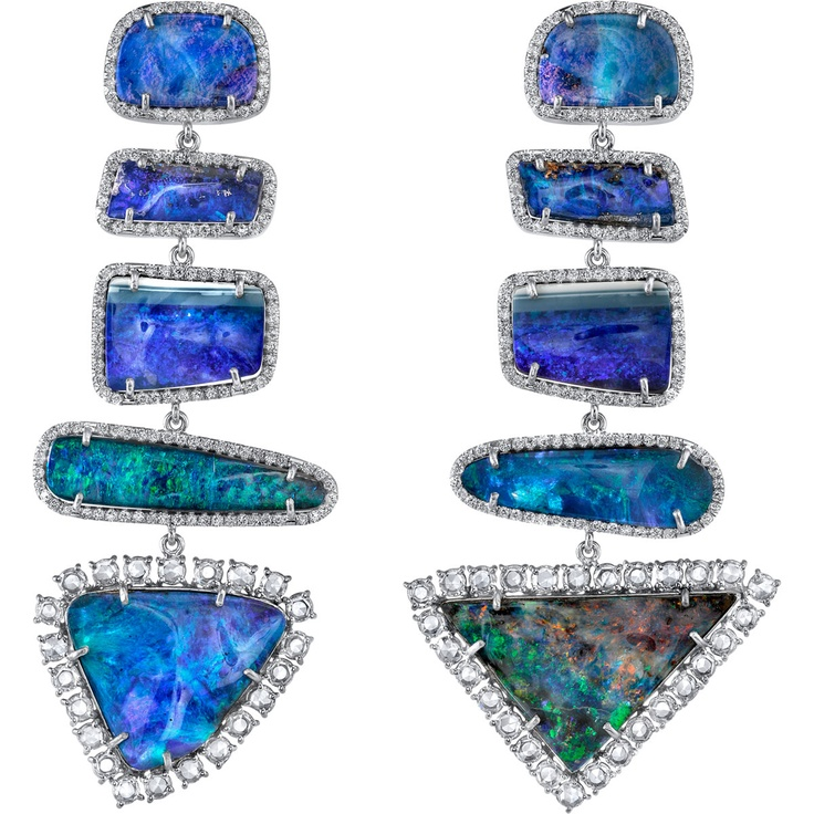 Irene Neuwirth Boulder Opal & Diamond Mixed Shape Earrings at Barneys.com
