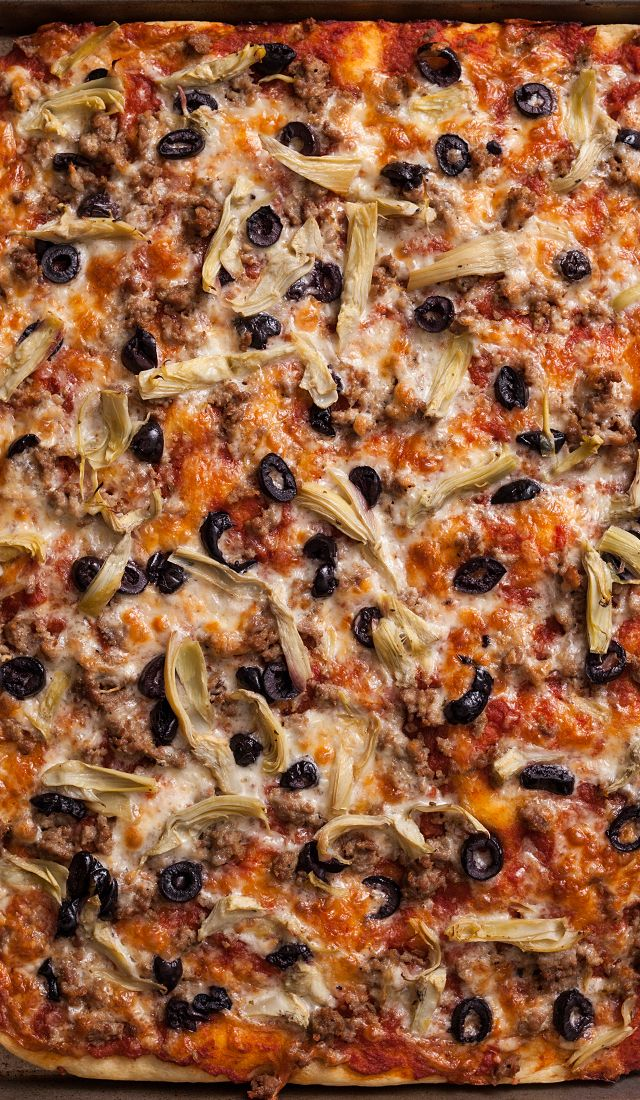 Focaccia Pizza. Use store bought focaccia or make your own! This is a delicious way to make pizza.
