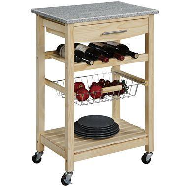 Kitchen Cart Granite Top W Wine Rack