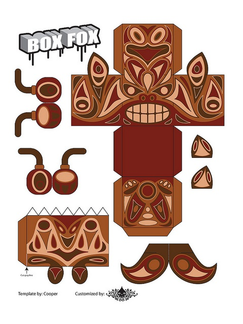 Totem Box Fox Paper Toy