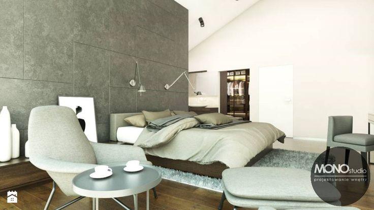 Przestronna, minimalistyczna sypialnia - zdjęcie od MONOstudio - Sypialnia - Styl Minimalistyczny - MONOstudio