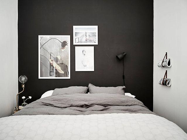 Скандинавский интерьер. Спальня. Серо-черная гамма.