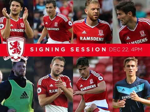 Tickets are available for Middlesbrough FC player signing session at the Riverside Stadium on Thursday December 22 2016