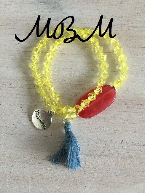 Gele armband - handgemaakt - Made by Marie