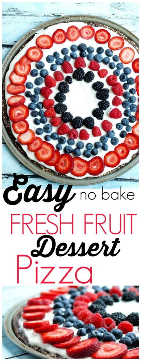 Easy Fresh Fruit No Bake Dessert Pizza Recipe.  This is a clean-eating recipe with all real foods!  A special treat that is perfect for the 4th of July desserts or any time of the summer! Healthy and the whole family loved it.