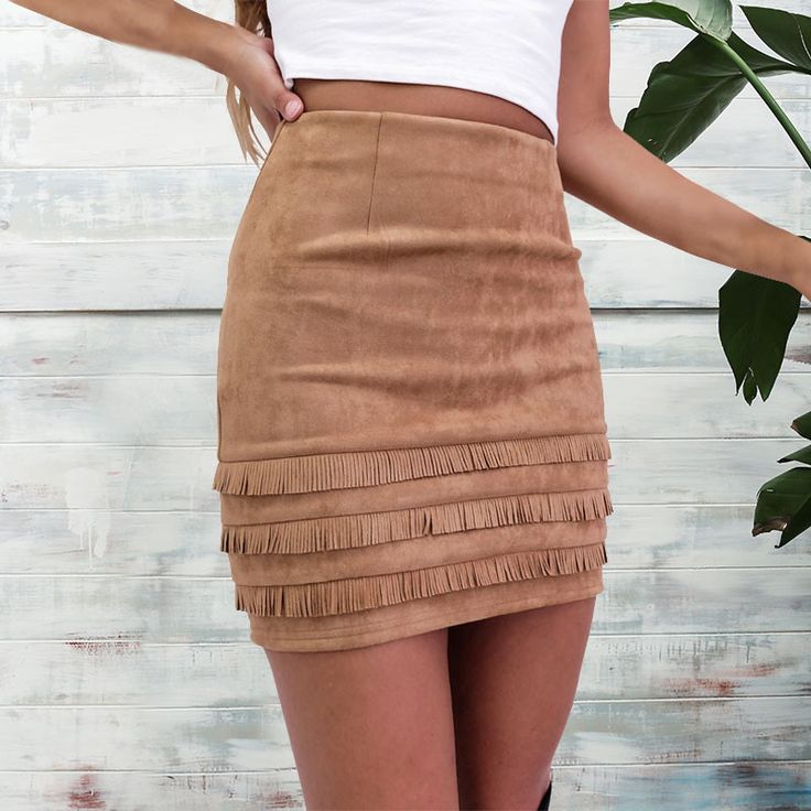 Blogtober | Fall fashion favorites. Faux suede fringe skirt.