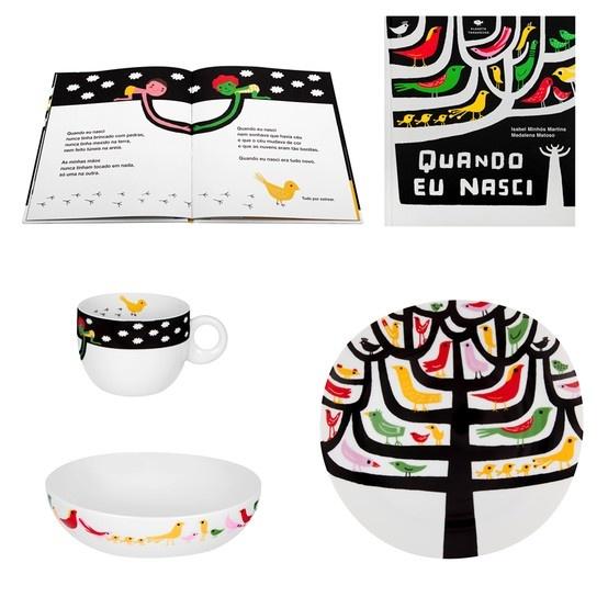 QUANDO EU NASCI – Children's Set (Cereal Bowl, Dessert Plate, Cup and Book)