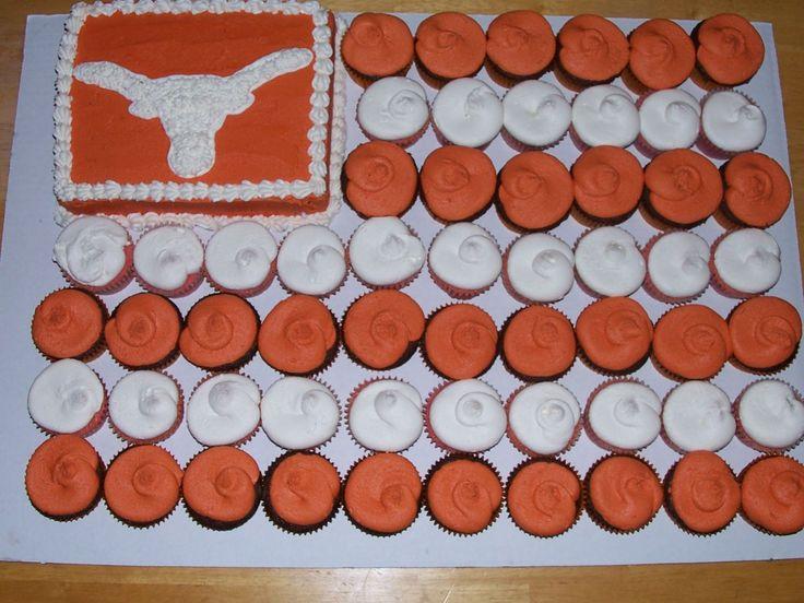 Texas Longhorn Flag Cupcake Cake — Yellow/Orange cakepins.com