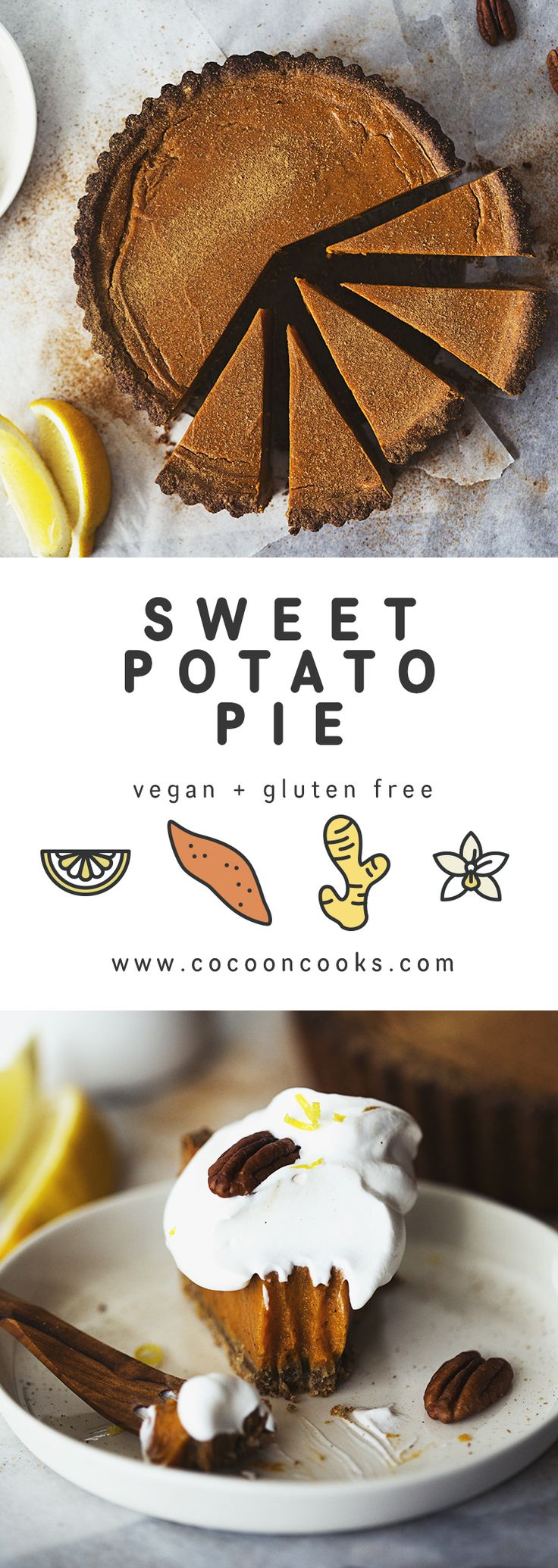 Healthy and Vegan Sweet Potato Pie, the perfect dessert recipe for Christmas! #plantbased