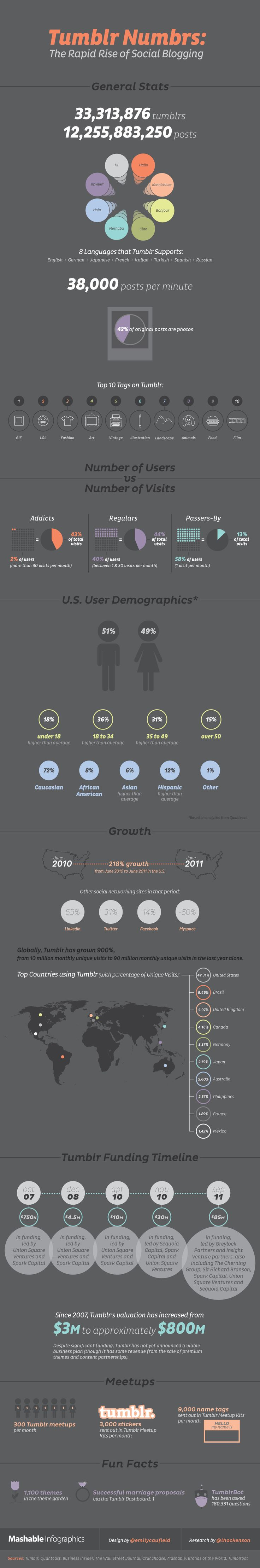 [Tumblr Infographic: Check Out How Tumblr Has Grown!] Tumblr has certainly seen some tremendous growth over a very short period of time.    With more and more users taking part in the platform on a daily basis, Mashable has put together a nice infographic showing the rise of the Tumblr platform over the years.    Included are some really cool (and very specific) facts about the platform, including numbers of new users, number of themes, and all other sorts of facts about Tumblr.
