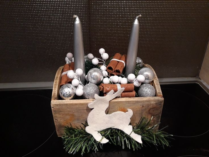 Christmas centrepiece decor. Silver candle with cinnamon and silver small xmas tree balls.