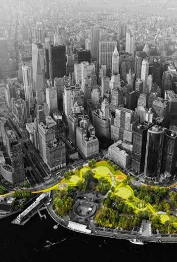 """""""We don't know exactly how climate change will play out, but two things are clear: Parts of our cities are in for severe stress. And we will have to get through it together,"""" according to writer Alec Appelbaum for The Dirt. Click to read more. Photo: The BIG U / Rebuild by Design"""