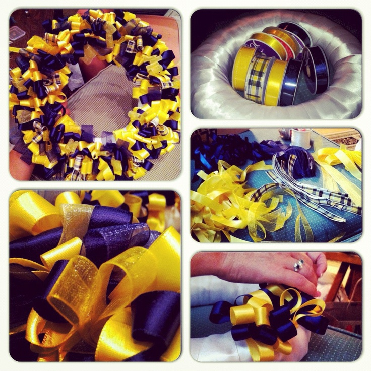 Homemade WVU ribbon wreath !!!Wvu Mountain, Ribbons Wreaths, Christmas, Banners Wreaths, Wvu Wreaths, Ribbon Wreaths Wvu, Homemade Wvu, Wvu Ribbons, Wv Wvu