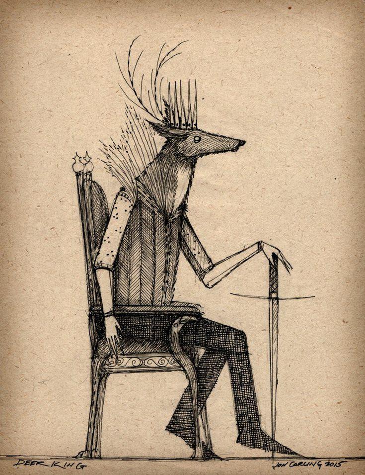 deer, illustration, king, throne, ink