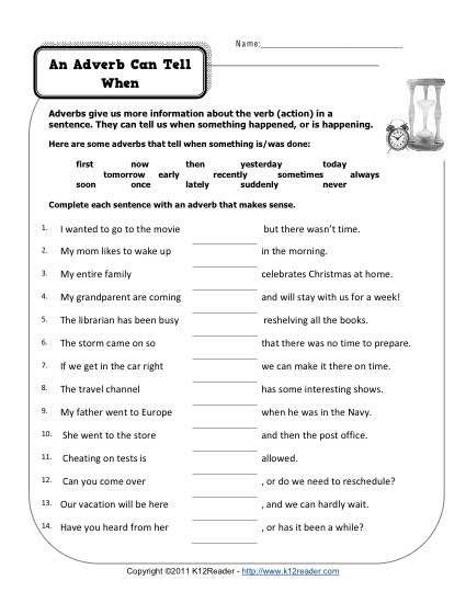Adverb worksheets 4th grade free