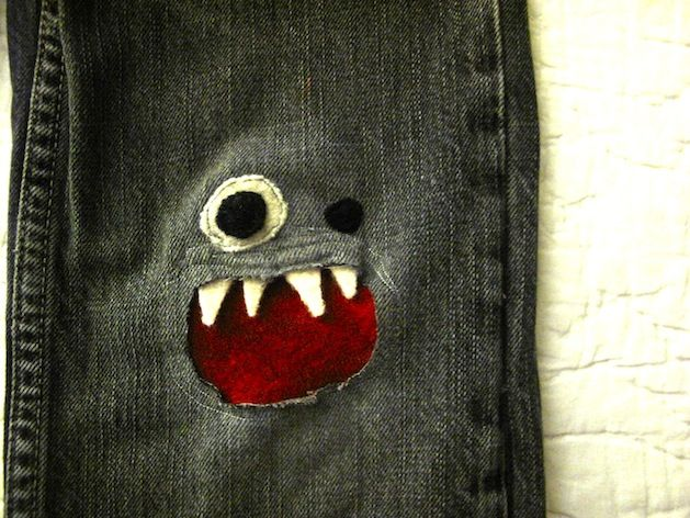 Machine-Stitched Monster Knee Patches @Katie Singer   -Jen Singer needs to get Pinterest because I want to show her these for William and his John Deere Jeans!