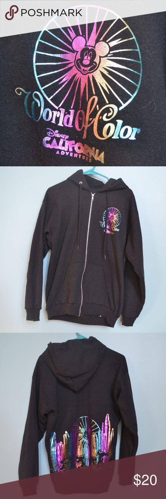 Black World of Color Zip-up Sweatshirt Black zip-up hoodie with metallic multicolor images of World of Color from Disney California Adventure Disney Tops Sweatshirts & Hoodies