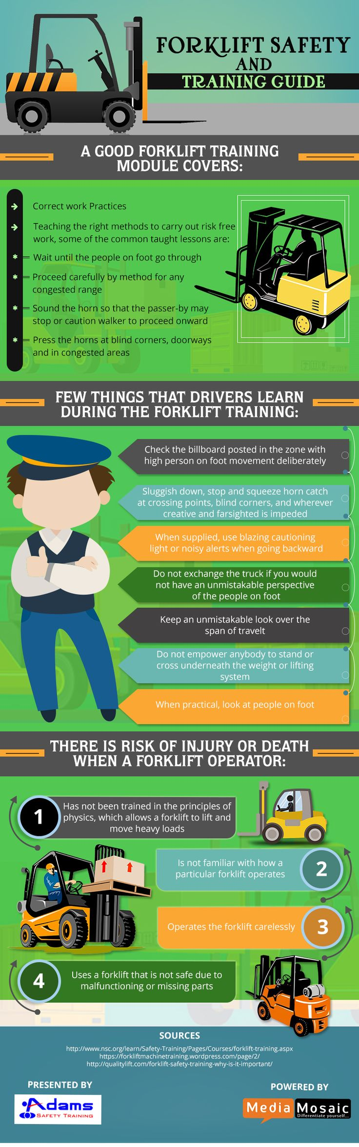 "The infographic titled, ""Forklift Safety and Training Guide"" describes the module of forklift training, things to learn during forklift training and risk of injury or death to a forklift operator.     For more information visit at: https://www.adamssafety.com/a-guide-related-to-forklift-safety-and-training-infographic/"