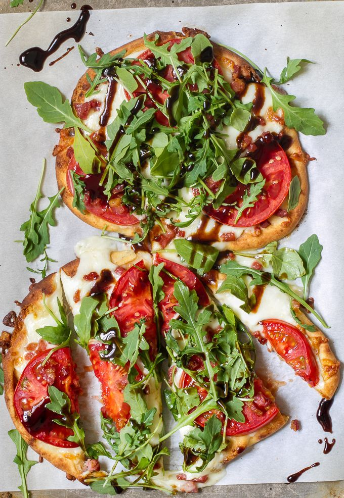 Tomato, Mozzarella & Arugula Naan Pizza with Pancetta