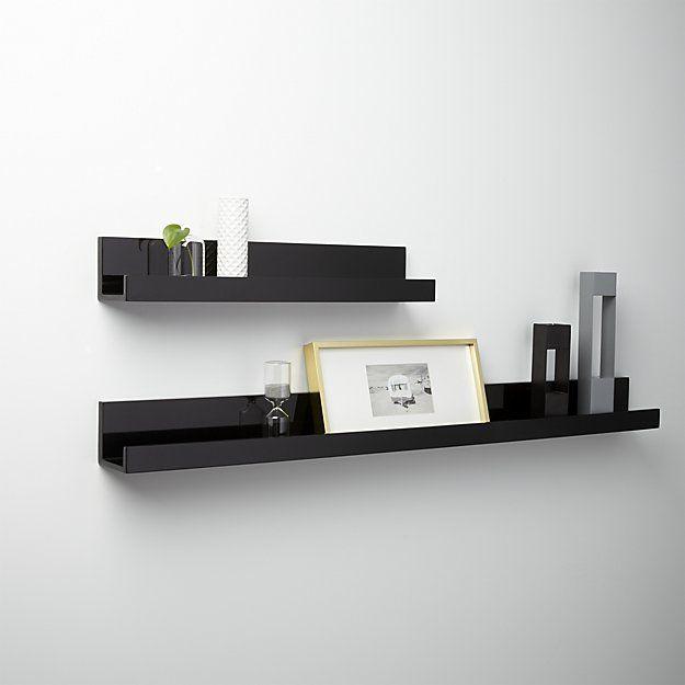 "piano black wall shelf 48"" | CB2"