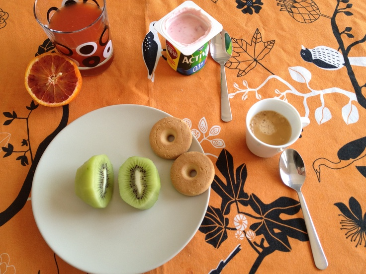 Day Four. Thursday Breakfast. Bloody Orange juice, Strawberry Yogurt, Nespresso Coffee, Kiwi, Macine biscuits