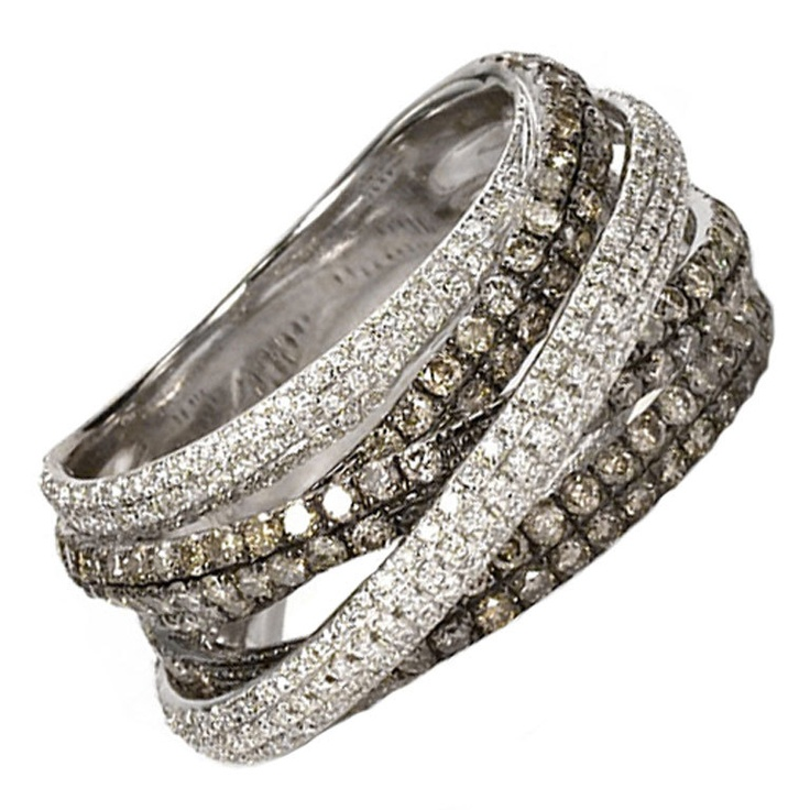 White Champagne Diamond Crossover Band Ring