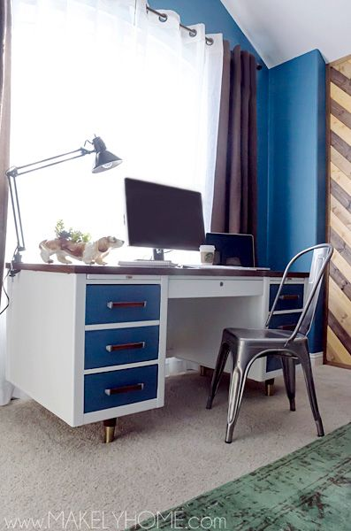 A Mid-Century Desk gets a Modern Touch via @Lindsay Ballard - Makely Makely School for Girls