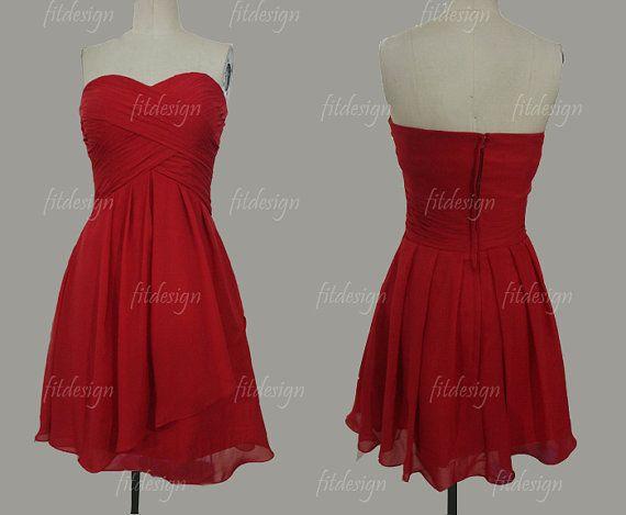 red bridesmaid dresses short bridesmaid dress chiffon by fitdesign Really cute!!!