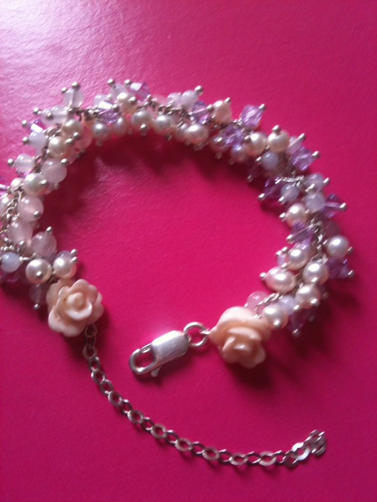 Bracelet, roses, pearls